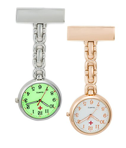 SEWOR Unisex Medical staff Hanging Pocket Watch 2pcs With Brand Leather Gift Box (Rose Gold & Luminous) by SEWOR