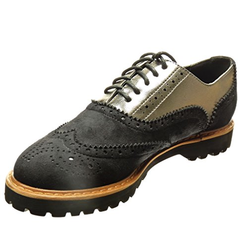 Angkorly - Scarpe da Moda Scarpe brogue scarpa derby bi-materiale donna perforato Tacco a blocco 2.5 CM - Nero