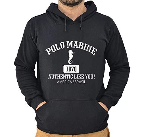 Blusa Moletom Polo Marine Masculina Coleção de Inverno (Preto, GG)