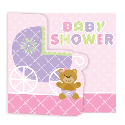 Creative Converting Baby Shower Teddy Baby Pink 8 Count Enhanced Invitations