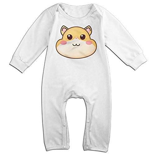 Eilinqch Hamster Face Emoji Baby Boys Girls Cute Long Sleeve Romper Jumpsuit Bodysuit 18 Months White