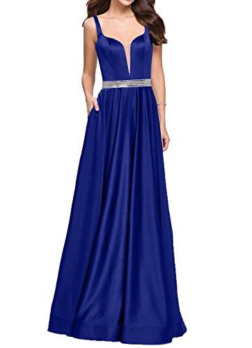 Royal Braut Ballkleider La V Durchsichtig Blau mia Festlichkleider mit Pailletten Ausschnitt Abendkleider 2018 Guertel Lang axO5SUq5w