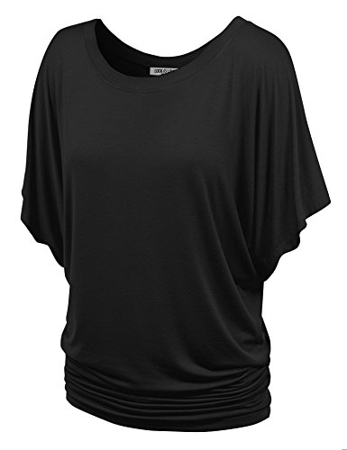 WT742 Womens Boat Neck Short Sleeve Dolman Drape Top S Black