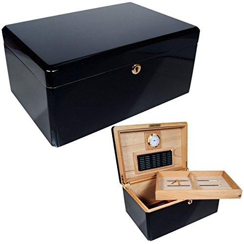 New Ebony Humidor Cuban Crafters Colores Negro Humidors Box for 100 Cigars ()