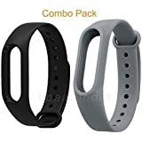 MI cosa Black and Grey Combo (only for mi Band 3, 3i and 4) Adjustable Watchband Silicone Strap Black and Grey Colour Band Bracelet (Not Compatible with Mi Band 1/2/HRX)