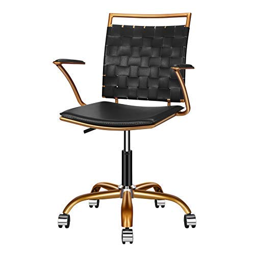 LUXMOD Home Office Chairs Ergonomic Vegan Leather Computer Chair, Black Office Chair Reception Chair Black and Gold Desk Chair, Ergonomic Desk Chair for Extra Back & Lumbar Support – Black