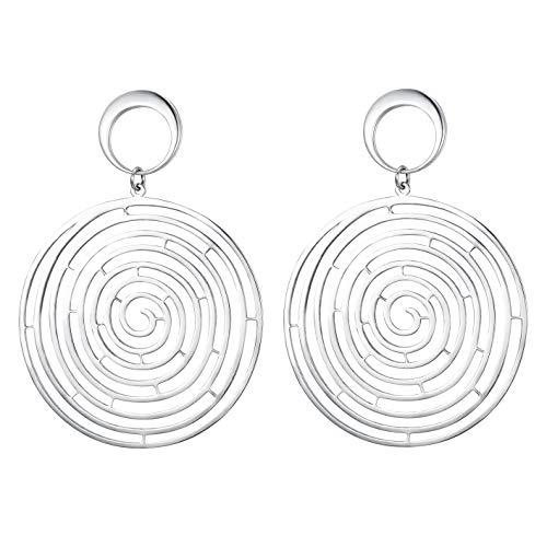 EleQueen Women's 925 Sterling Silver Round Spiral Maze Hook Dangle Statement Earrings Silver-Tone ()