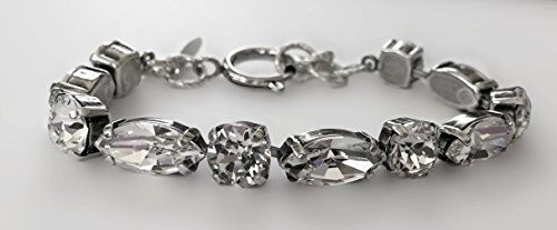 Swarovski Crystal Diamond Bracelet Antique Silver Setting by It's Crystalicious (Antique Austrian Crystal)