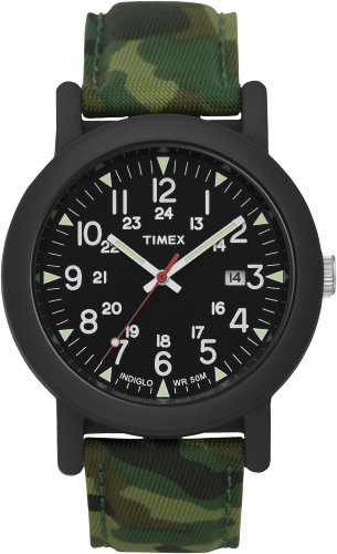 Timex Mens Urban Camper Black INDIGLO Dial Resin Case Camouflage Canvas Strap Watch T2N675