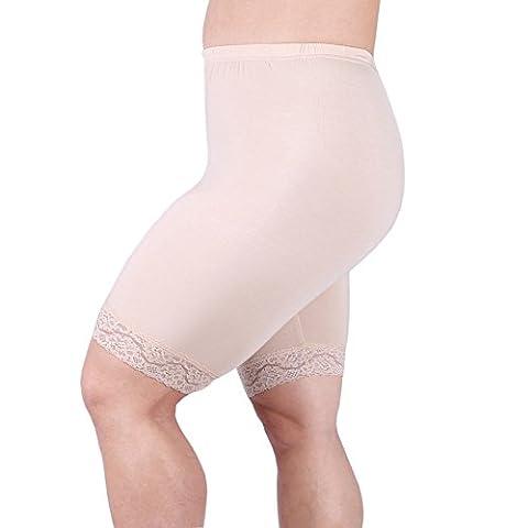 Zerdocean Women's Plus Size Short Leggings with Lace Trim Khaki 2X shorts