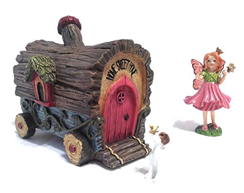 Fairy Gypsy Camper Wagon with Winged Fairy in Pink Dress Holding a Wand and Small Dog with Butterfly on Nose for Miniature Gardens and Terrariums