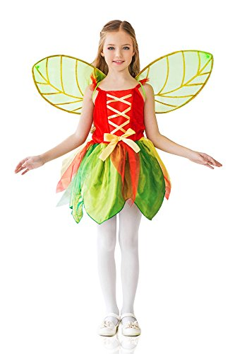 Kids Girls Spring Pixie Halloween Costume Forest Fairy Dress