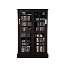 Atlantic Windowpane Wood Look Cabinet with Sliding Glass Doors, Espresso