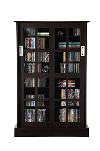 - Atlantic Windowpane Adjustable Media Cabinet - Tempered Glass Pane Styled Sliding Doors; Store 216 Blu-Rays, 192 DVDs or 576; Adjustable Shelves; 49 X 32 X 9.5 inches; PN94835721 in Espresso