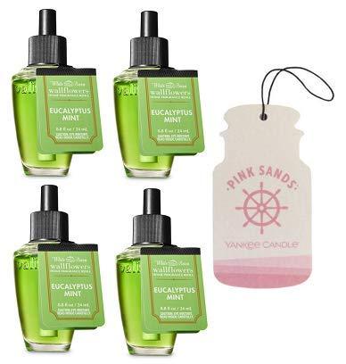Bath and Body Works 4 Pack Eucalyptus Mint Wallflowers Fragrance Refill. 0.8 fl oz. + Paperboard Car Jar Pink Sands.