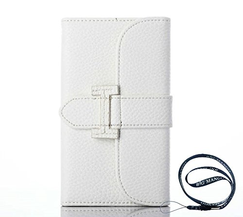"Fashion Apple iphone 5 iphone 5s Envelope Style Triple Fold Skin Flip Cover Wallet with ID Card Slots & Magnet Closure & Cash Holder Pocket,Gift ""BIG MANGO"" Logo Strap (White)"