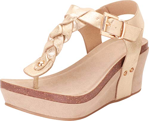 Gold Woven Platform - Cambridge Select Women's Thong Toe Braided T-Strap Chunky Platform Mid Wedge Sandal,6.5 B(M) US,Light Gold PU