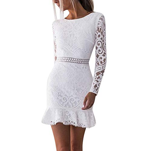 (TOTODWomens Sexy Lace Bodycon Cocktail Ladies Party Pencil Midi Dress Bandage Dresses (M, White - 3))