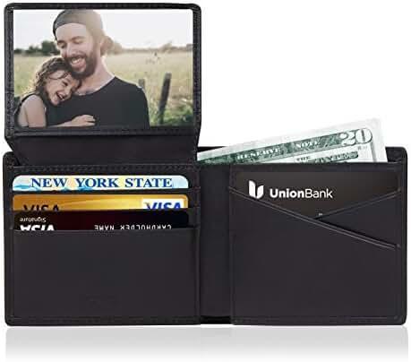 RFID Wallets for Men Genuine Leather Black Slim Pocket Credit Card Protective Wallet