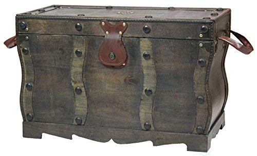 (Vintiquewise QI003250L Antique Style Distressed Wooden Pirate Treasure Chest, Coffee Table Trunk)