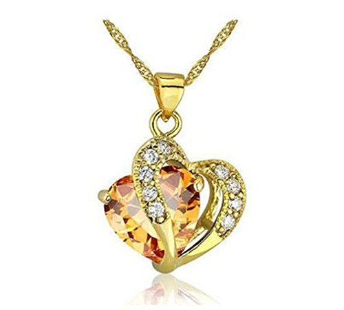 Fashion Womens Heart Amber Crystal Rhinestone Gold Chain Pendant Necklace New -