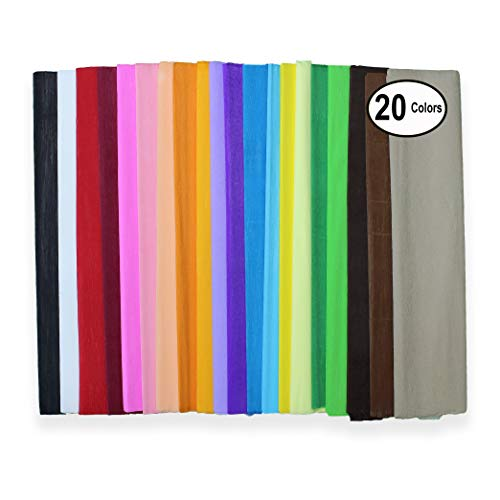 Mighty Gadget 20 Pack Crepe Paper Fold Rolls with 20 Assorted Unique Colors - 19.6 inch (W) x 78 inch (L) per Sheet]()