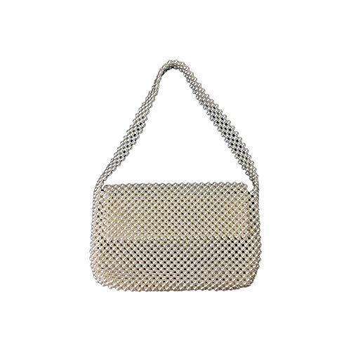 JUNCHUANG Pearl Bag Handmade Beaded,Handmade Weave Crystal Faux Pearl Mini Summer Bags,Lady's Hand Pearl Bag Annual Meeting Banquet Party Birthday Party