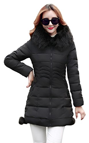 Bigood Ladies Down Size Nero Tight Warm M Hooded Plus Cappotto 11rHdqn
