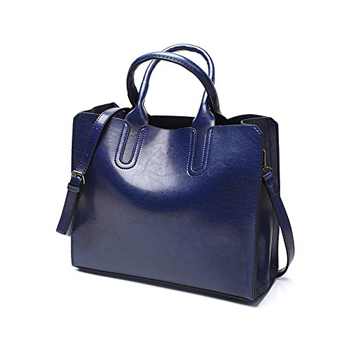 Handbags Handle Women Bag Shoulder Leather Chikencall work Handbag shopping Elegant Satchel party Blue Ladies Wax Top Oil Bag Vintage PU for FddwPq