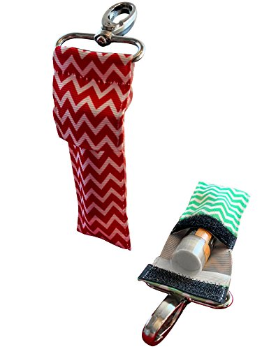 Chapstick Keychain Holder With Secure Close Lid. 2 Pack Lip Balm Holder. (Emerald & Red)