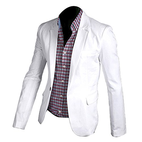 Vobaga Men's One Button Suit Blazer Coat