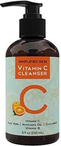 Vitamin C Facial Cleanser (8 oz) Gel for Daily Anti-Aging & Acne Treatment. Clear Pores on Oily, Dry & Sensitive Skin. Best Natural Makeup Removing Face Wash by Simplified Skin