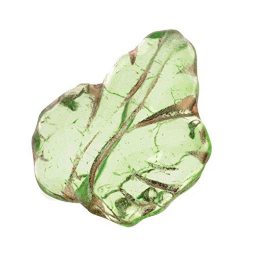 Jablonex Czech Glass Beads 13mm x 15mm Leaf Peridot Green With Gold (10)