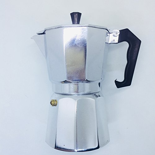 SerialDrinkers 6-Cup Moka Pot, Stovetop Express Espresso Maker With Easy Grip Handle For Safe Handling, Makes 6 Demitasse of Coffee Shots Genuine Italian Feeling