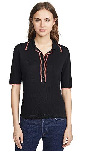 Scotch & Soda Maison Scotch Women's Short Sleeve Polo Sweater, Black, Medium (Scotch And Soda Sweater)