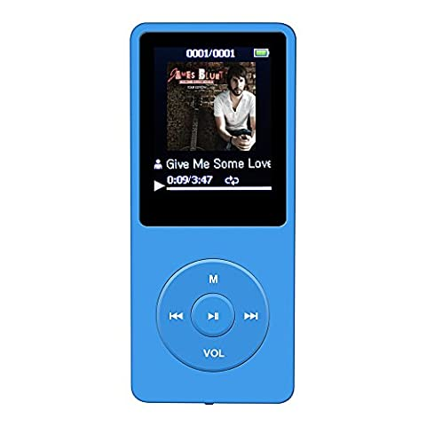 [2016 New UI] AGPtEK A02 8GB 70 Hours Playback MP3 Lossless Sound Music Player (Supports Up To 64GB), Blue
