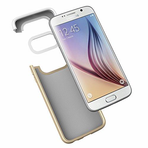 Vena Samsung Galaxy S6 Funda [iSlide] Slim Fit duro recubiertas de goma cubierta de la caja de para Samsung Galaxy S6 (Blanco / Champagne Oro) Blanco / Champagne Oro