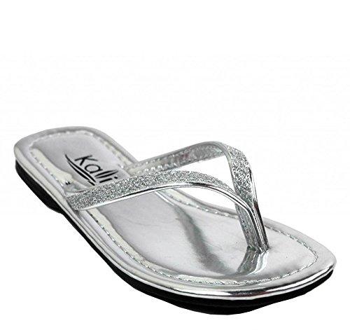 Kali Footwear Girl's Focus Jr. Patent Flip Flop Flat Glitter Sandals, Silver 10