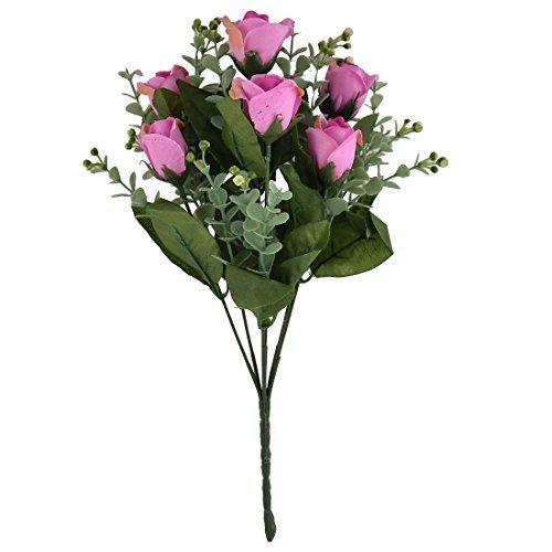 DealMux Wedding Living Room Decor 7 Heads Flower Blossom Artificial Rose Bouquet Fuchsia