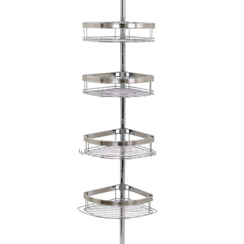 Zenna Home 2133NS, Tension Corner Pole Caddy, Chrome
