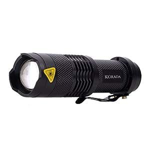 KORADA Mini LED Handheld Flashlight - Portable Outdoor Zoomable 260 Lumens Waterproof Bright, Adjustable Focus Zoom Light Lamp - Black (3 Mode Flashlight)