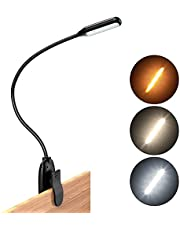 Amber Book Light, Natuvee 7 LED Reading Light for Bed, Large Rechargeable Battery, Up to 80 Hr Reading, 360° Gooseneck Design Clip on Bed Lamp for Gift, Bookworm, Kindle, Reading, Kids