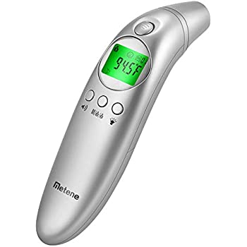 Metene Forehead and Ear Digital Thermometer, Non-Contact Thermometer with Fever Alarm and Easy Accuracy, for Baby, Adult and Family Care