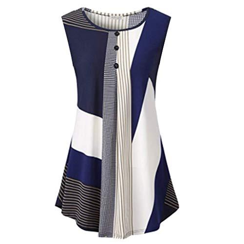 Auimank Blouses for Women Fashion 2019, Women Sleeveless Round Collar Floral Irregular Streak Loose Casual Tops Blouse(Large,Blue) (Shirt 1979 Road)