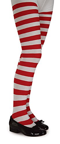 Red White Child Striped Tights Hosiery Girls Pantyhose Socks Elf Xmas Accessory