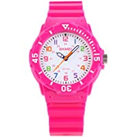 Kids 50M Waterproof Watch,PU Band Wrist Watch for Boys Girls, Pink