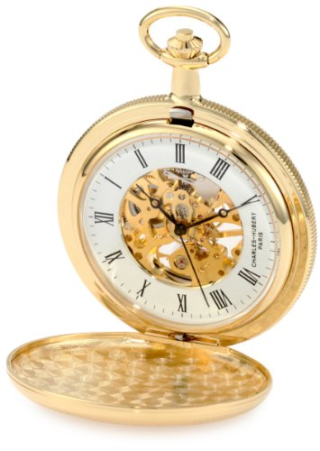 - Charles-Hubert, Paris 3909-G Classic Collection Gold-Plated Hunter Case Mechanical Pocket Watch