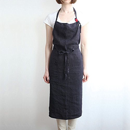 Linen apron 4 color, Unisex adjustable easy care house simple long apron Black
