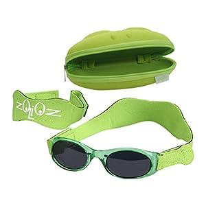 Tuga Baby / Toddler UV 400 Sunglasses w/ 2 Straps & Case, Green