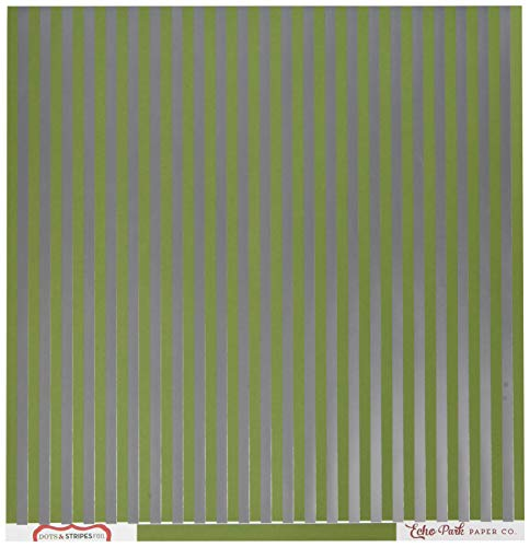 Echo Park Paper DSF17063 Christmas Double-Sided Foiled Stripe Cardstock, 12